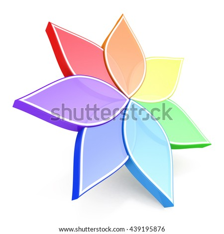 Flower Color Wheel 3D in the design of information related to plants. 3d illustration - stock photo