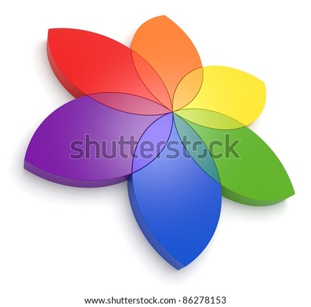 Flower Color Wheel 3D - See my portfolio for more color wheels. - stock photo