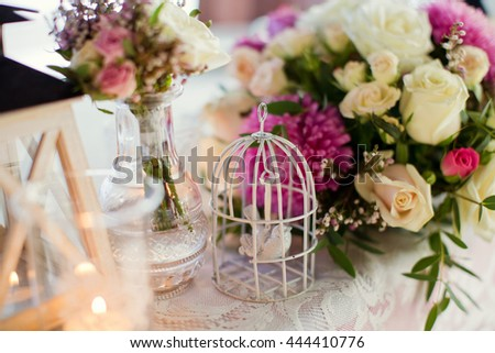 flower composition of chrysanthemums, roses and heather - stock photo