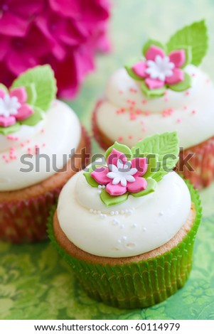 Flower cupcakes - stock photo