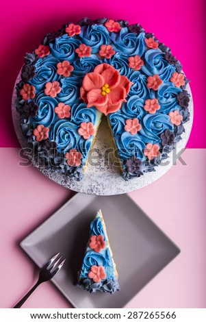 Flower decorated layer cake