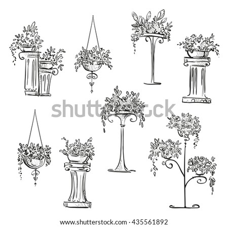 Flower decorations sketch - stock photo