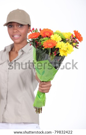 Flower delivery - stock photo
