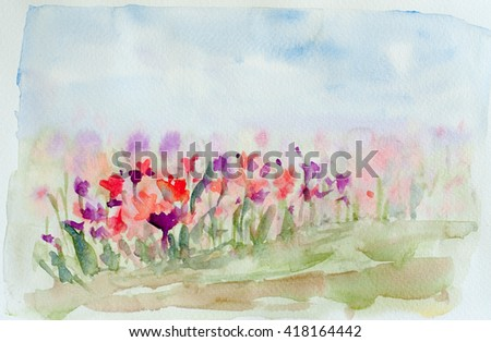 Flower field, watercolor painting - stock photo