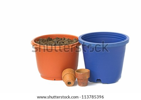 flower garden and pot. - stock photo