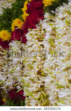 Flower Garlands for Hindu Religious Ceremony - stock photo