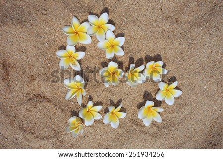 Flower heart on the sand. Valentine's Day. - stock photo
