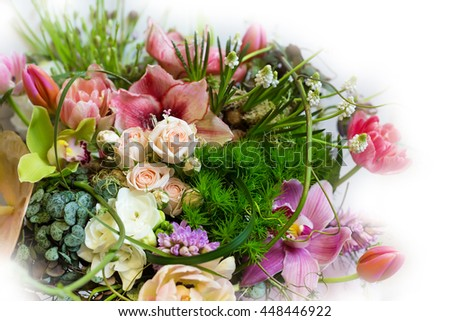 Flower holiday decoration, beautiful peony blooming bouquet - stock photo