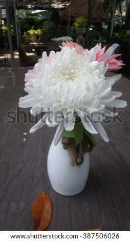 flower in metal pot on the wooden background, vintage style