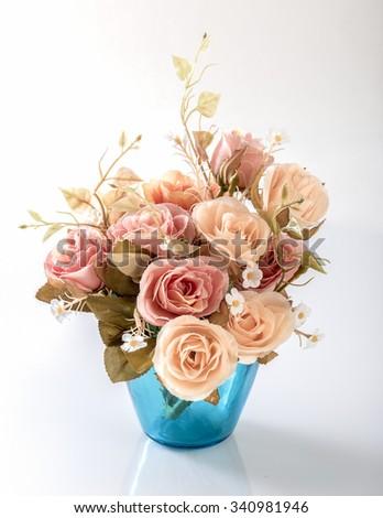 Flower in vase isolated on white background - stock photo