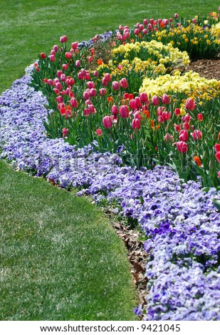 Flower landscaping border - stock photo