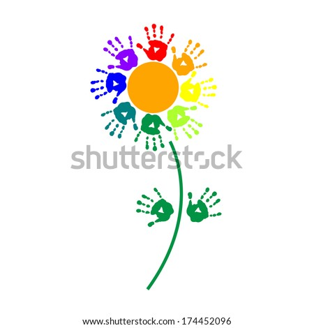 Flower of a colorful hand prints - stock photo