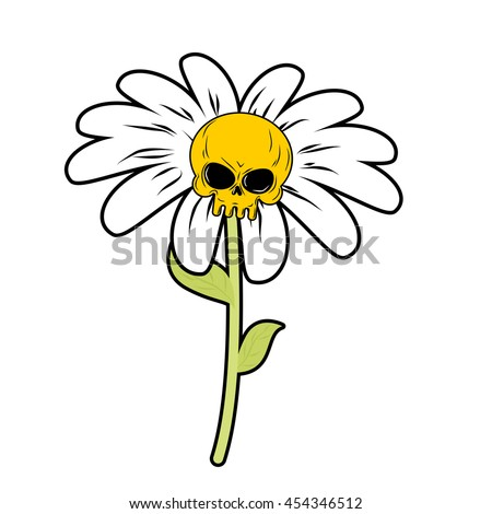 Flower of death. Chamomile with skull. Head skeleton with white petals. Fantastic plant. - stock photo