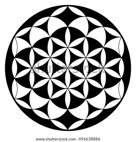 Flower of life, buddhism chakra illustration, pattern in black and white, esoteric and spiritual