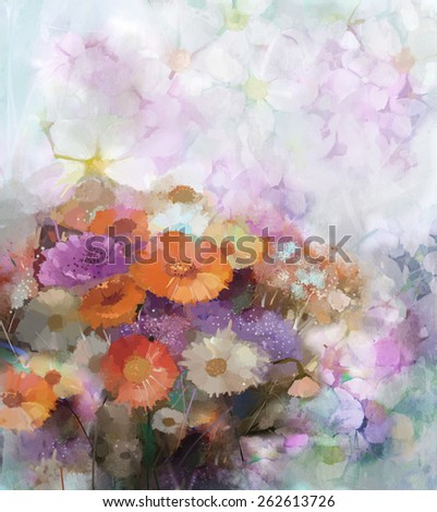 Flower oil painting background, floral composition for background