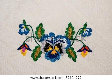 Flower on tissue ornament - stock photo