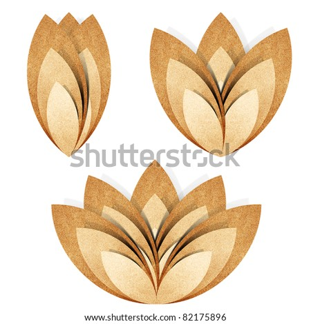 Flower origami  brown recycled paper craft stick on white background - stock photo