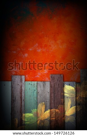 Flower painted on grunge vintage fence with red cement wall background - stock photo