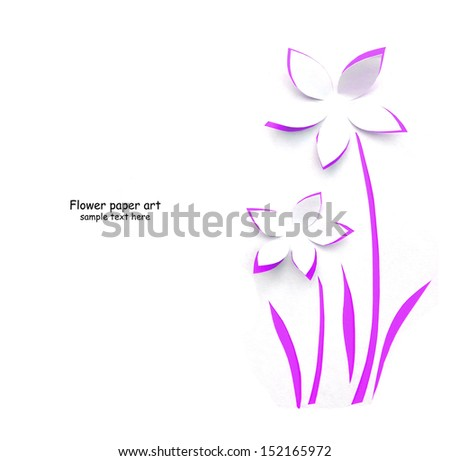 Flower paper art ,greeting card - stock photo