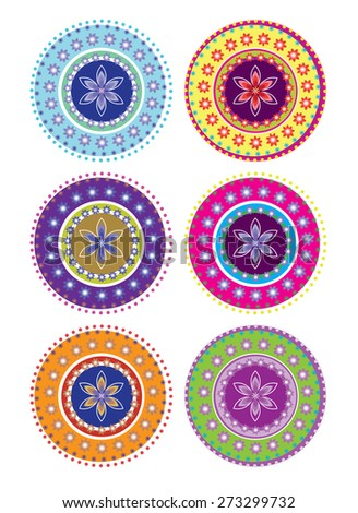 Flower pattern set - stock photo