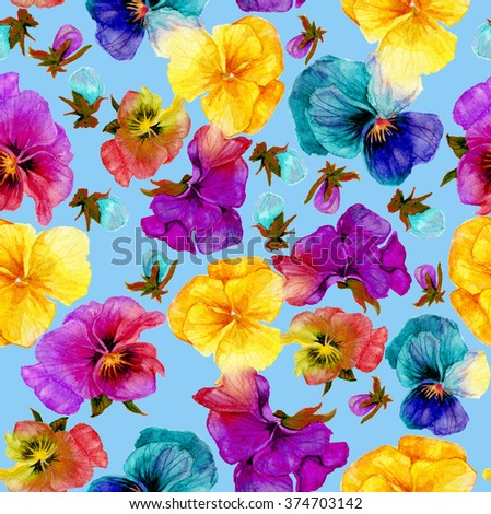 Flower pattern, watercolor painting on blue background - stock photo