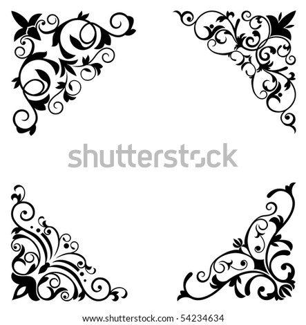 Flower patterns and borders for design and ornate. Vector version also available in gallery - stock photo