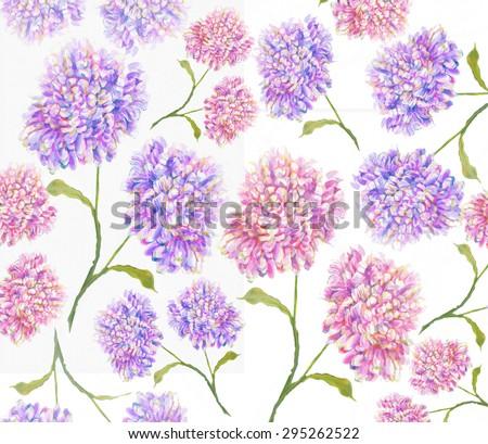 Flower  peony dahlia chrysanthemum Watercolor white back ground original art painting wallpaper seamless pattern - stock photo