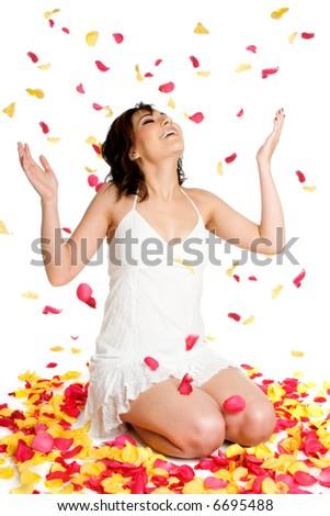 Flower Petals Woman - stock photo