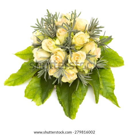 Flower piece with roses and leaves isolated on white background - stock photo