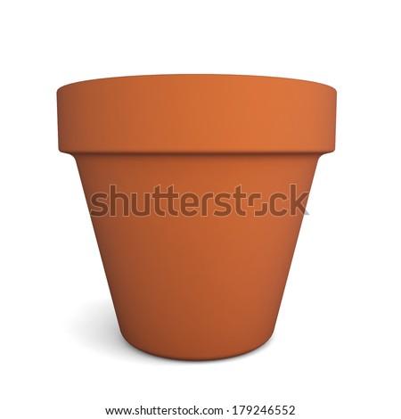Flower pot. 3d illustration on white background  - stock photo