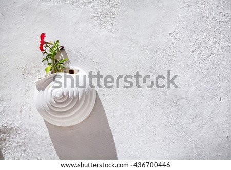 Flower pot on the wall of narrow street in Bodrum, Turkey - stock photo