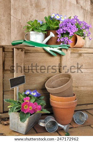 flower pots and garden accessories stored on wood background - stock photo