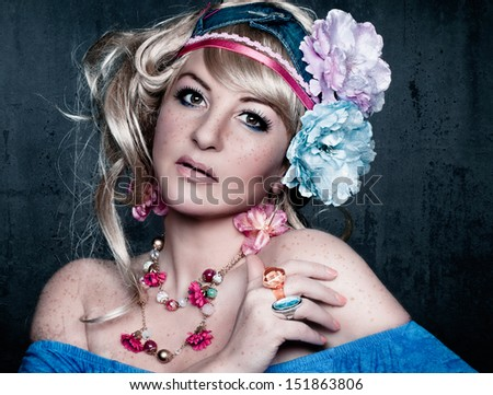 flower power candy girl - stock photo