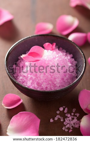 flower salt and rose petals for spa - stock photo