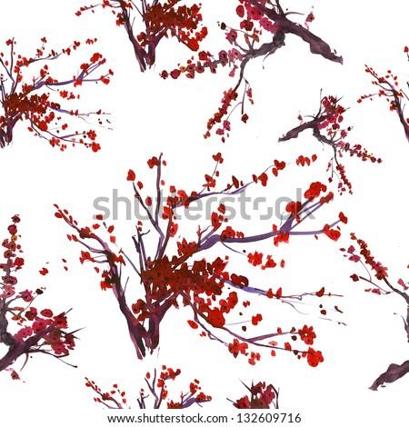Flower seamless background pattern tree japanese cherry blossom. Realistic sakura watercolor nature illustration. - stock photo