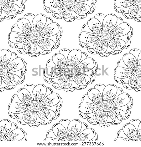 Flower seamless pattern. Doodle cute print.