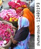Flower sellers in Pushkar, India - stock photo