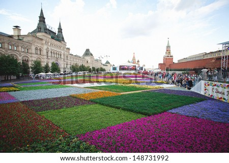 Flower Show on the Red Square in Moscow, Russia - stock photo