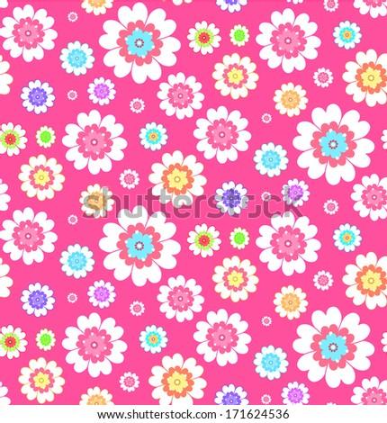 flower simple seamless pattern - stock photo