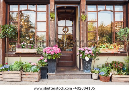 Flower Store Or Cafe Entrance Decorated With Flowers Rustic Style Concept Beautiful Design Elements