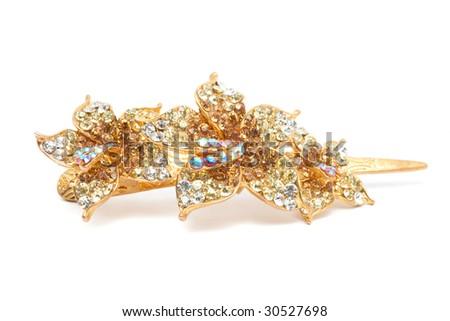 Flower styled hairgrip isolated on white - stock photo