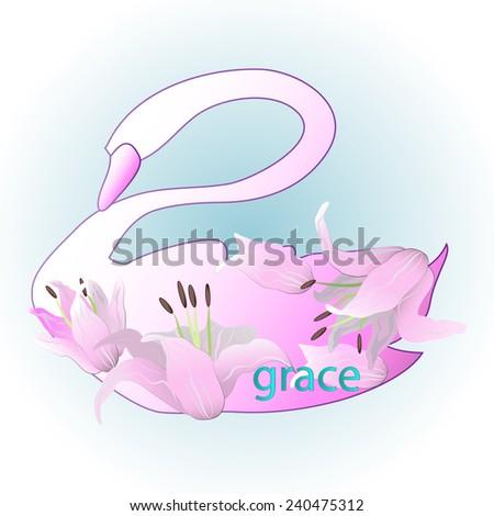 Flower swan in blue background - stock photo