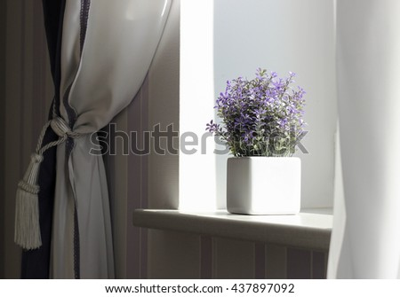 Flower vase decoration interior, window sill, curtain - stock photo