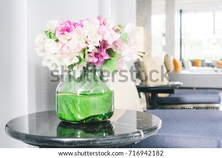 Flower Vase On Table Decoration Stock Photo Royalty Free 716942182