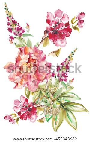 Flower watercolor background. Floral illustration Bouquet on a wedding. Wedding bouquet. A bouquet of flowers for wedding invitation, Birthday, bouquet for a congratulation.  - stock photo