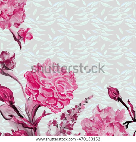Flower watercolor background. Floral illustration.The exotic beautiful flowers drawn with hands. Tropical bright rose.Bouquet of flowers for wedding invitation, Birthday for a congratulation.