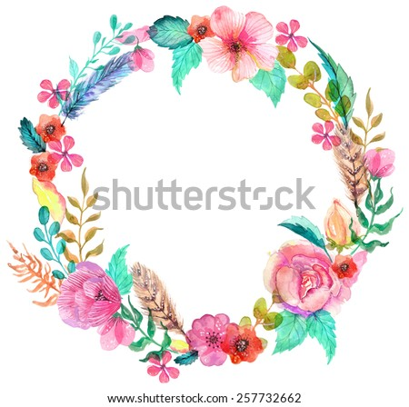 Flower watercolor wreath for beautiful design
