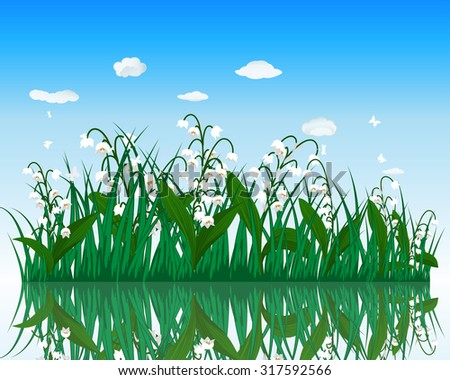 Flower with grass on water surface with reflection. Raster illustration.