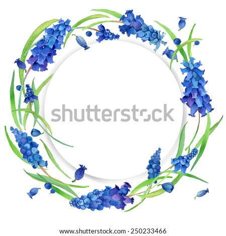 Flower wreath and young green grass. Spring flowers background. watercolor art  - stock photo