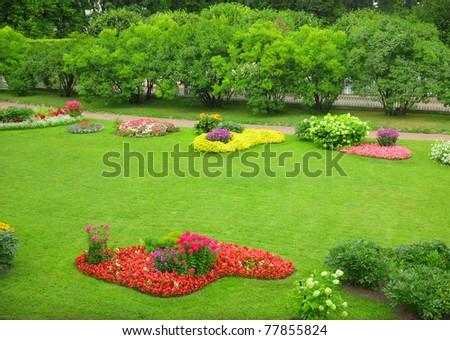 Flowerbeds - stock photo